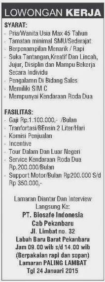 Lowongan PT. Biosafe Indonesia
