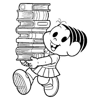 Desenho da Mônica com livros para Colorir / Turma da Mônica