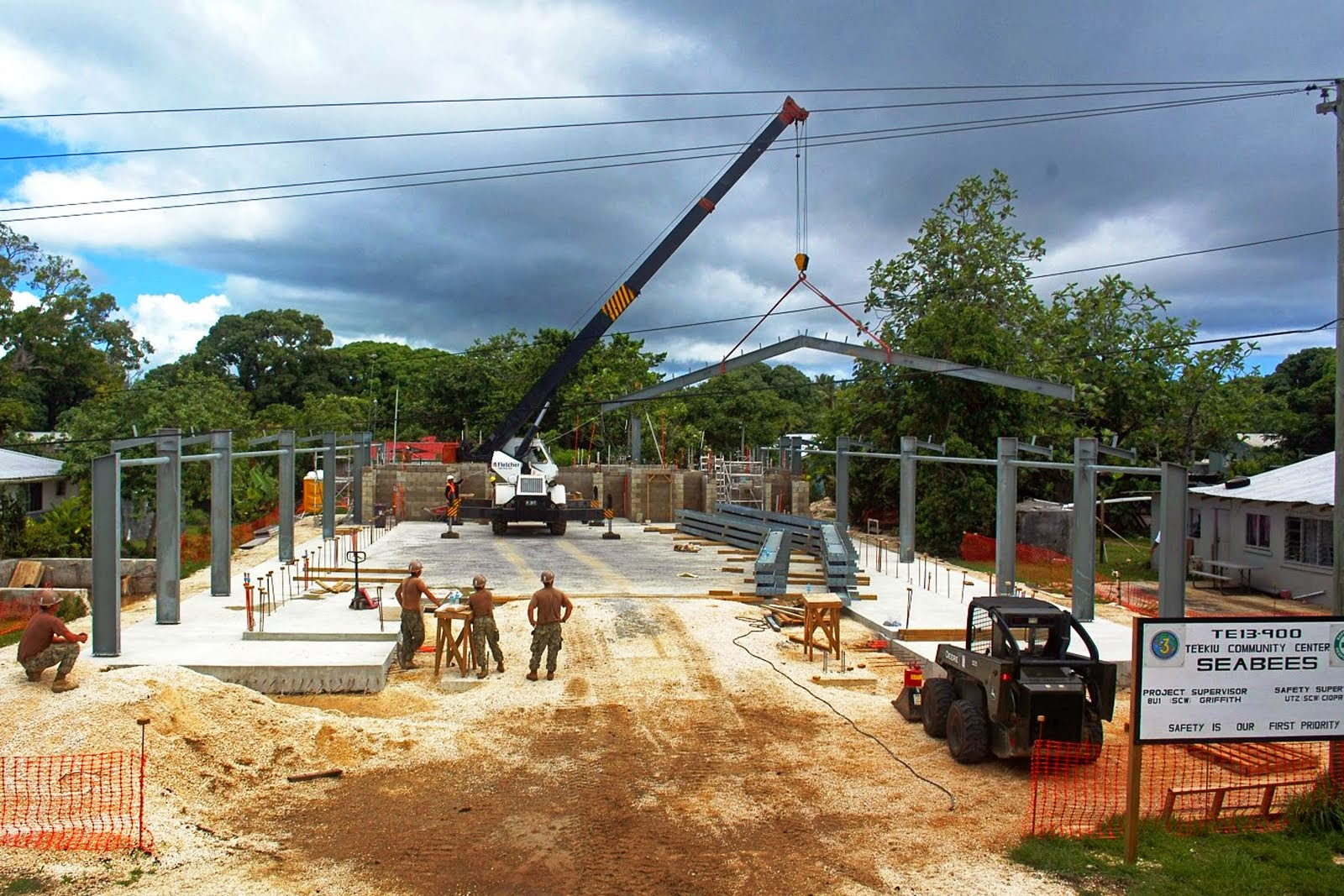 SEABEES HELP BUILD COMMUNITY HALL IN TONGA