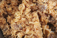 Sausage, onions, and quinoa with mozzarella