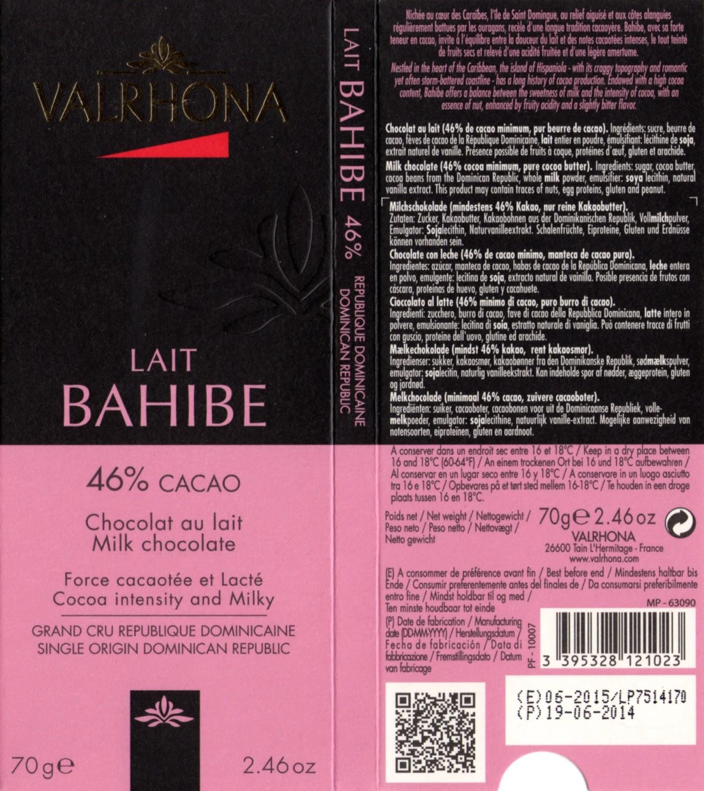 tablette de chocolat lait dégustation valrhona lait bahibe 46