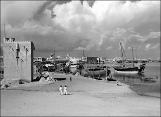 A creek-side scene at Burj Khalifa 1951 old and rare photo