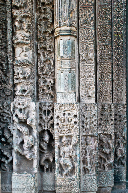 The Left part bottom section of the door jamb with 7 layers of stone carvings