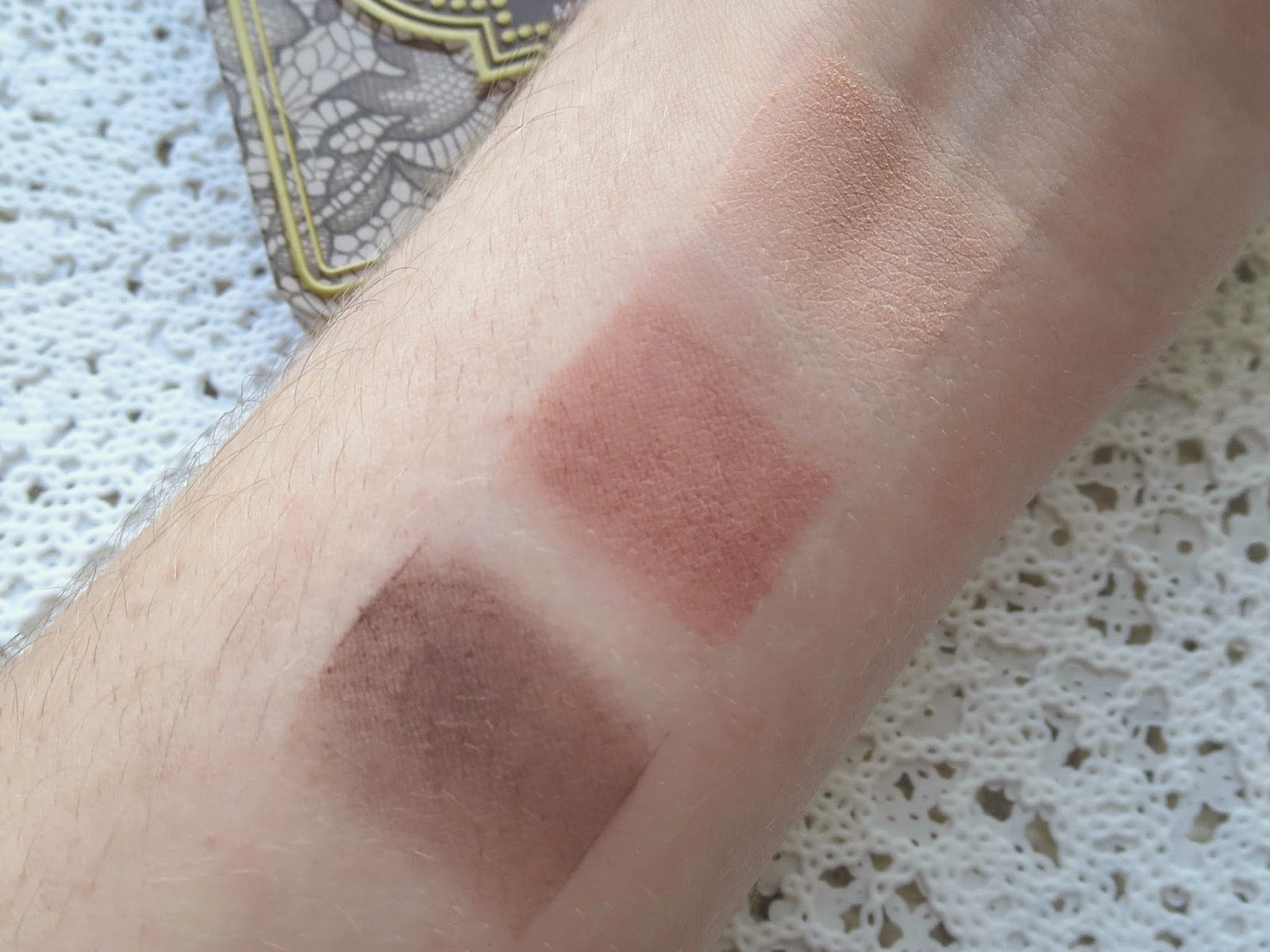 a picture of Too Faced Natural Matte palette swatch ; Risque, Strapless, Lace Teddy