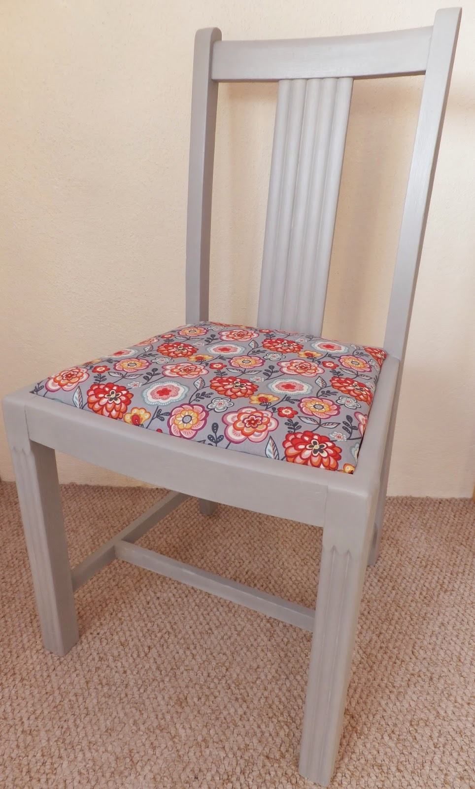 repainted chair with recovered seat