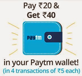 Paytm : Pay Rs.20 & Get Rs. 40 : Buy To Earn