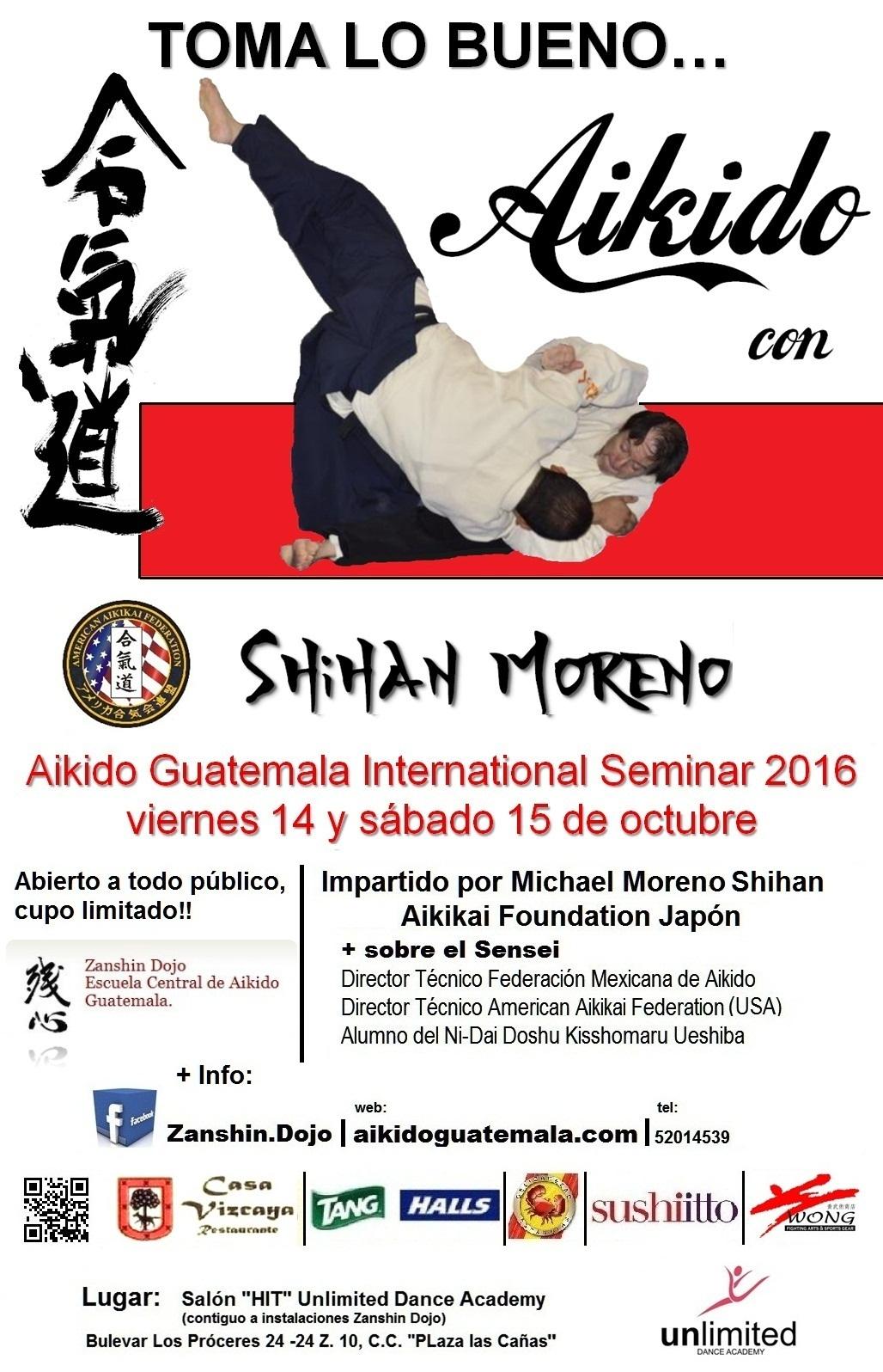 Afiche 14vo. Seminario Zanshin Dojo Aikido Guatemala