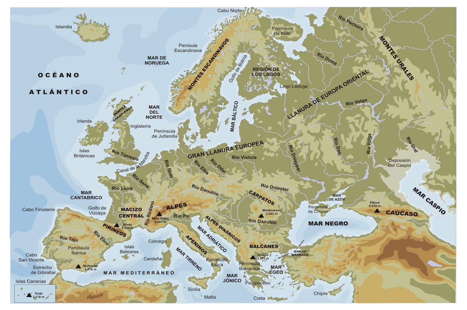 Paula 39 s Geography Blog Physical map of Europe