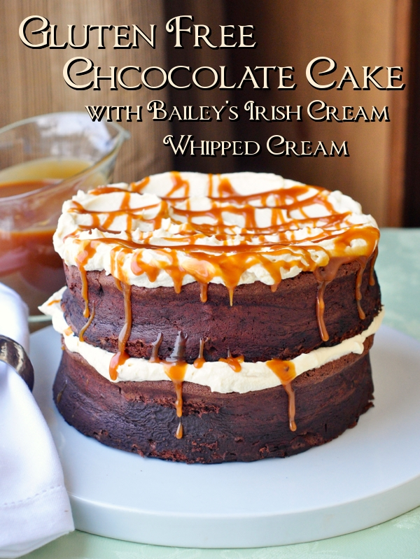 Chocolate Souffle Cake with Irish Cream Whipped Cream and Caramel Drizzle