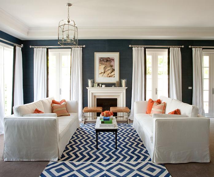 dark blue living room with wood trim old navy jill rosenwald studio
