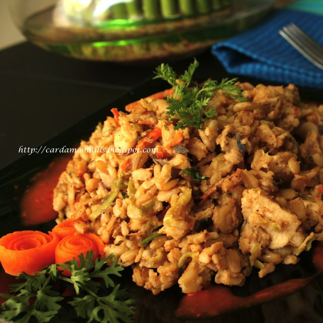 ... Hills: OATS POTPOURRI- STIR FRIED WHOLE OATS, BROCCOLI STEM & CHICKEN
