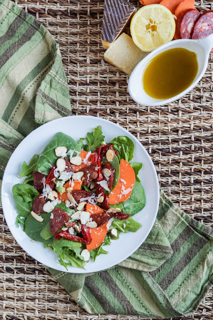 Featured Recipe | Chorizo, Sweet Potato, Roasted Pepper and Manchego Salad from Tara's Multicultural Table #recipe #SecretRecipeClub #sausage #salad
