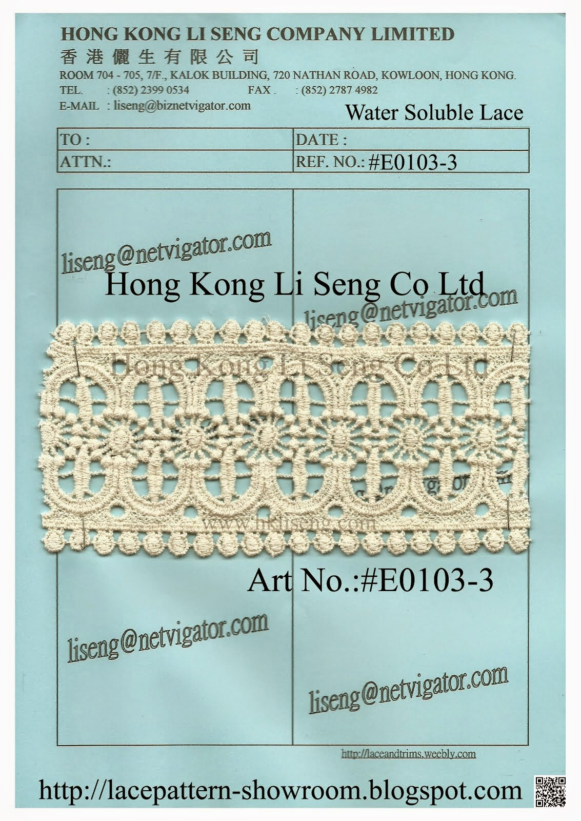 Embroidered Cotton Lace Trimming Wholesaler - Hong Kong Li Seng Co Ltd