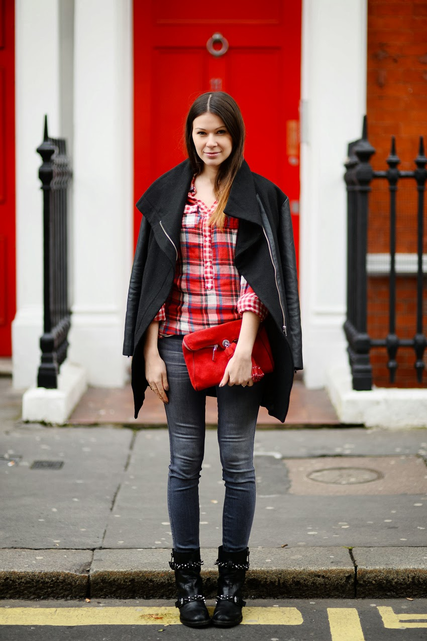 plaid shirt, red bag, coat