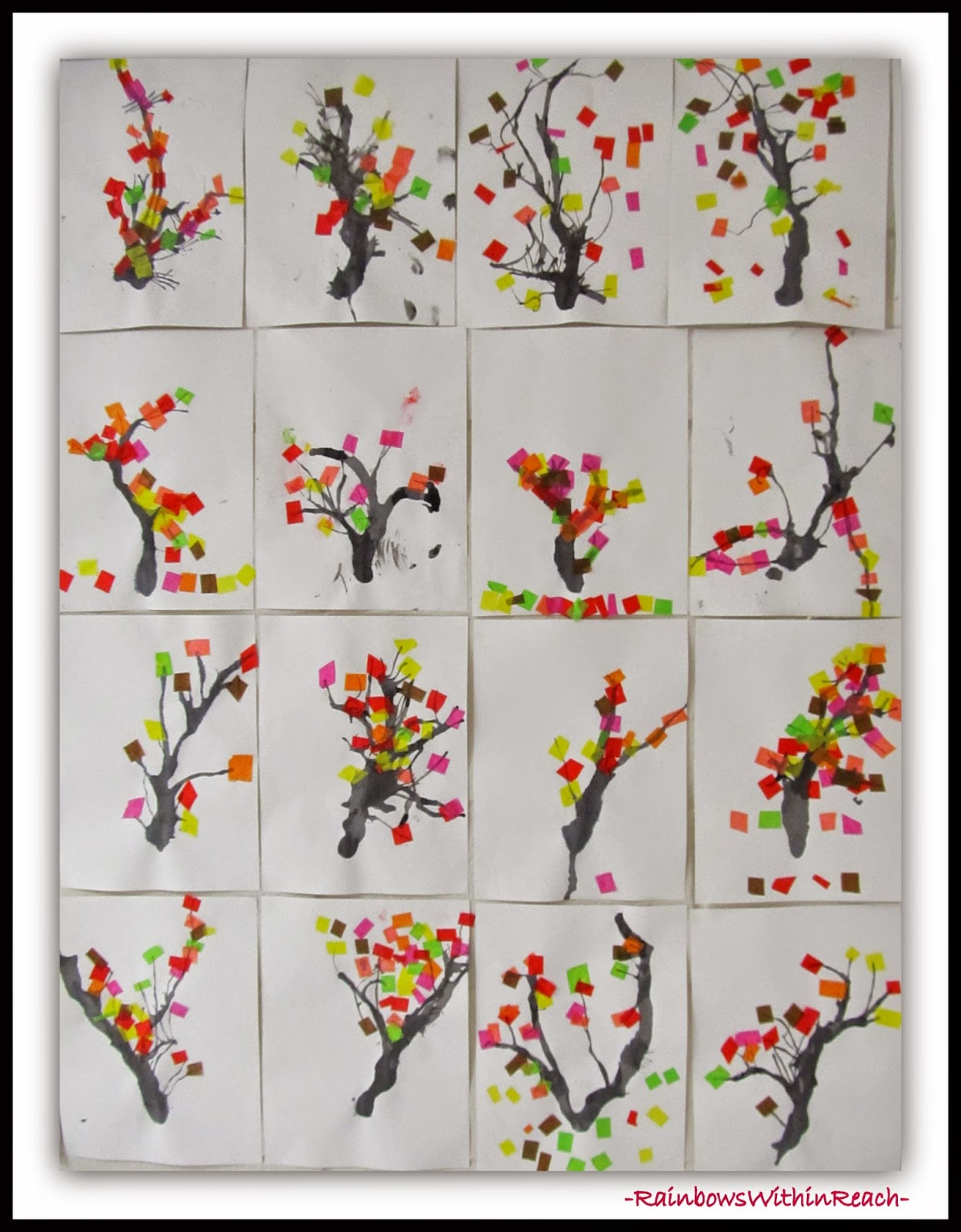 Multi-media Blown Ink and Tissue Paper for Spring Blossoms at RainbowsWithinReach