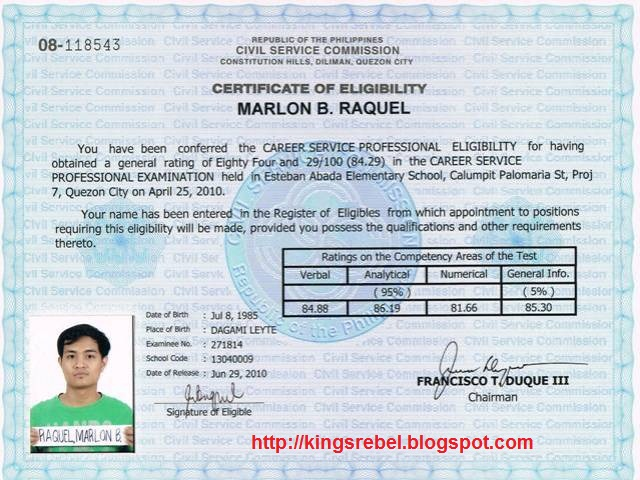 certificate eligibility sample image collections