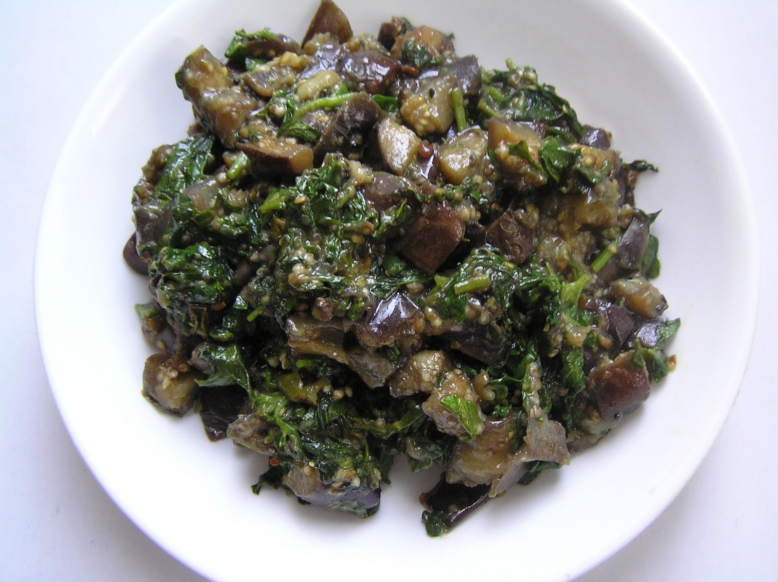 The Melting Pot: Methi Begun / Fenugreek Leaves with Eggplant