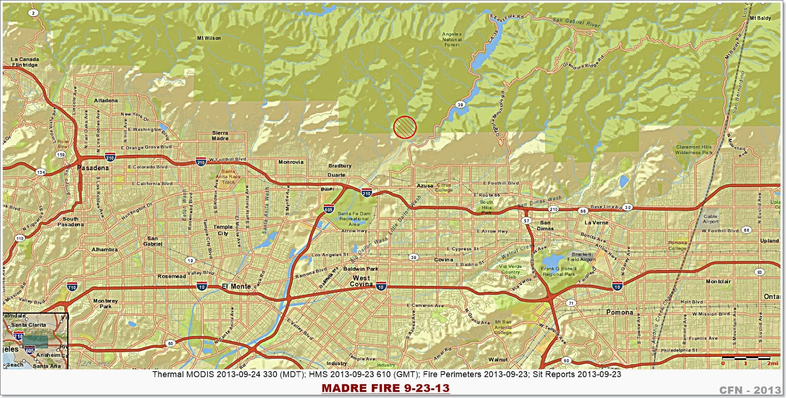 Azusa Canyon Fire Map.Ca Anf Madre 250 Acres 70 Angeles National Forest Above Azusa