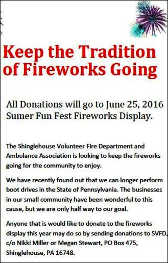 Donations Needed For Shinglehouse Fireworks
