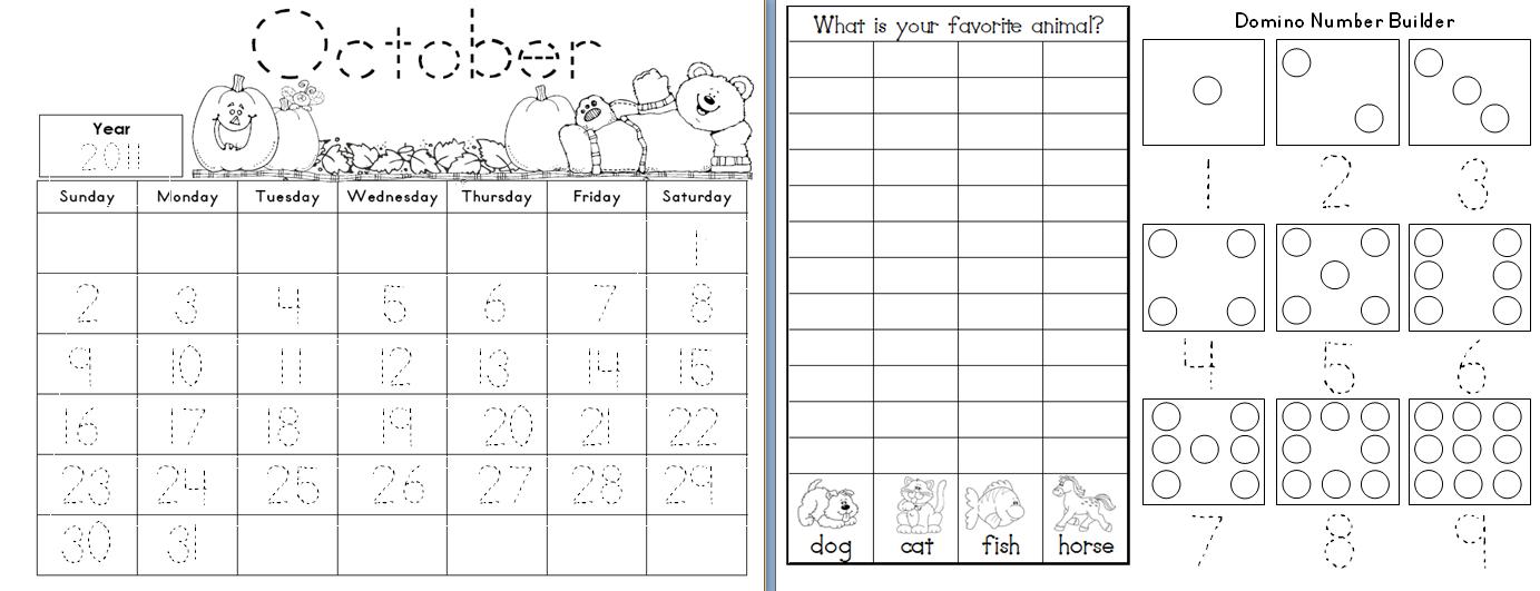 Calendar worksheets for preschool