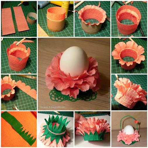 Diy paper flower easter egg stand goodiy the instructions are fairly easy cut a toilet paper roll in half and use it as a model for cutting the crepe paper although this piece should be slightly mightylinksfo