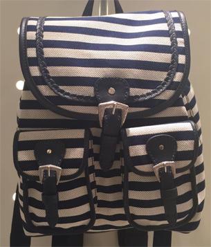 Anacapri coleção de verão mochila listrada azul e bege