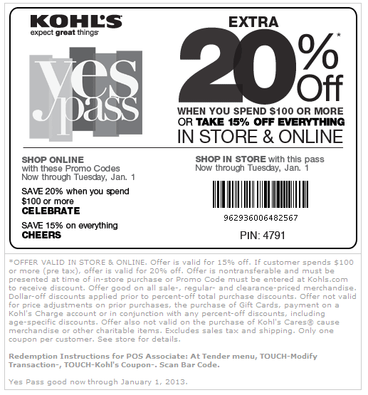 Some of the most popular offers at Kohl's are their 30% off coupons. The discount is valid for 30% off all orders at angeloppera.cf and can even be stacked with other category and free shipping coupons for extra savings. There are two ways that Kohl's will offer a 30% off coupon.