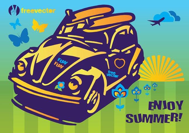 Summer Fun Beetle Car Vector