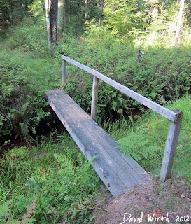 mini stream river bridge, handrail, wood, 4x4 posts