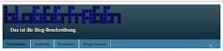 Das Bild zeigt den Header mit Blog-Beschreibung, in der voreingestellten Schriftgröße.