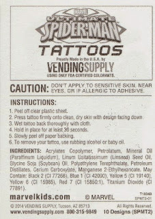 Back of card from vending machine Ultimate Spider-Man Tattoos set