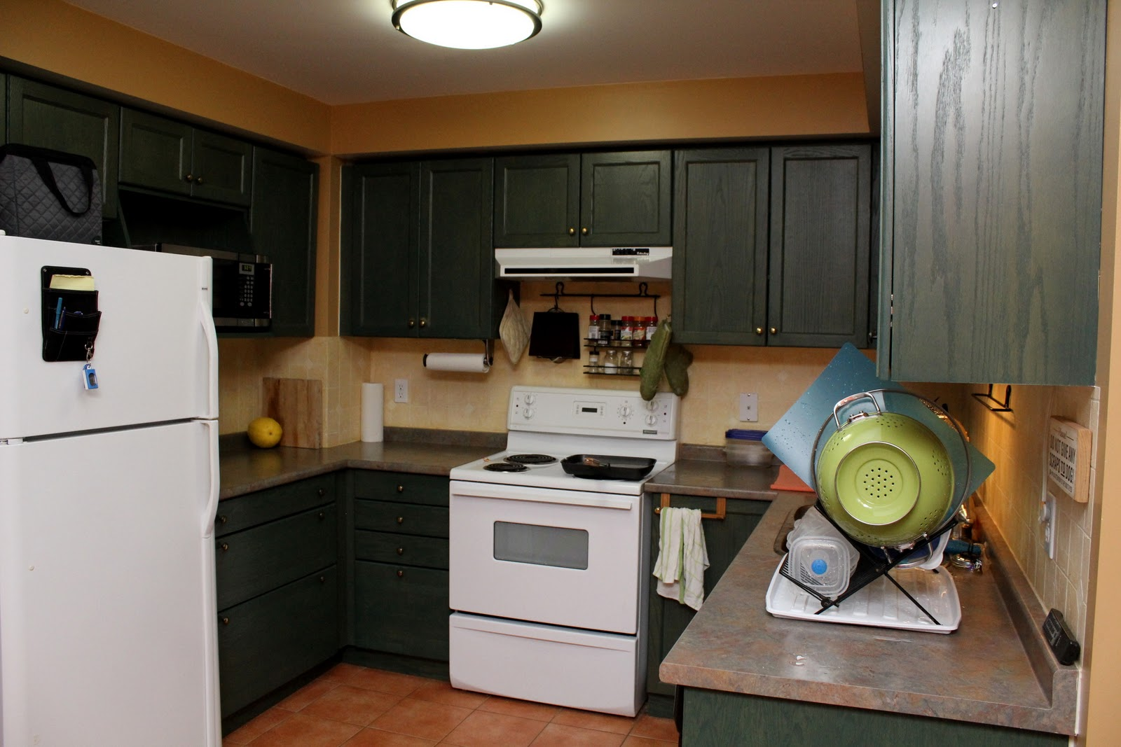 Brown painted kitchen cabinets -  Brown Painted Kitchen Cabinets With White Appliances 2