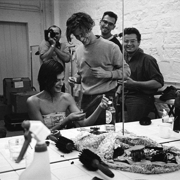 Linda Evangelista, Stephane Marais, Julien d'Ys and Peter Lindbergh photographed by Lindbergh in 1989 / Linda Evangelista first ever iconic hair cut moment / exclusive images / via fashioned by love british fashion blog
