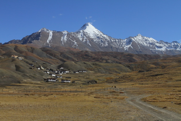Extremely scenic mountain village of Langza in Spiti, Western Himalayas