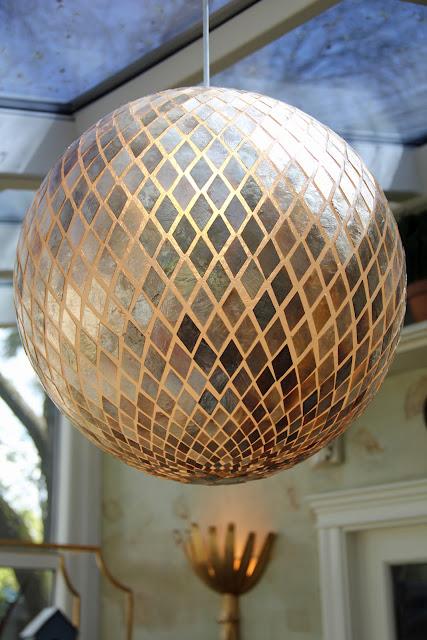 diamond shaped Capiz shell globe pendant