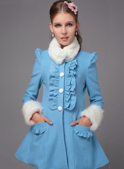 New Arrival High Quality Woolen Sweet Falbala Overcoat