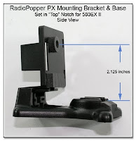 CP1112: RadioPopper PX Mounting Bracket & Base - set for 580EX II - Showing Height of Sensor Location - Side View