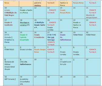 Agenda /setembro/outubro
