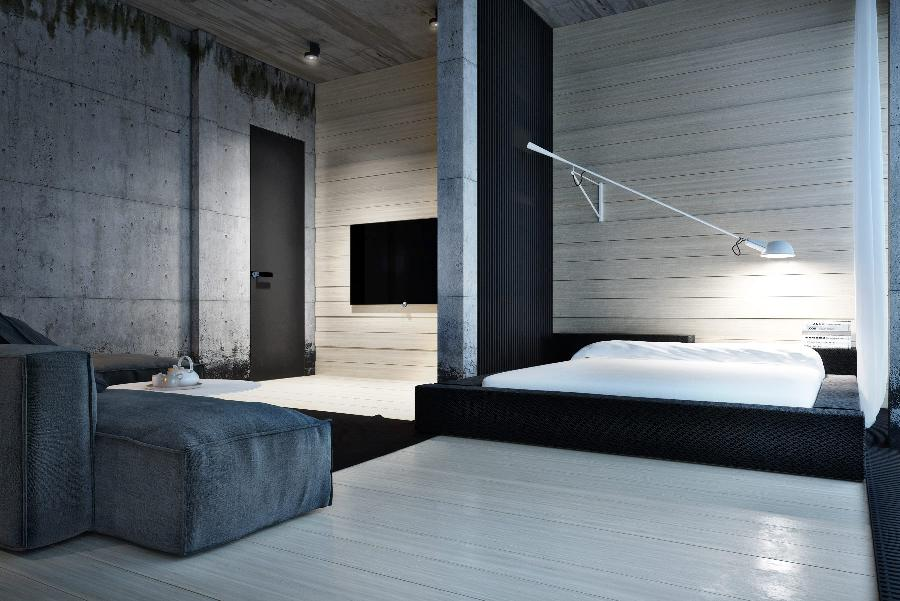 Hard Edged Architecture Is Coupled With Concrete Walls For A Masculine Decor