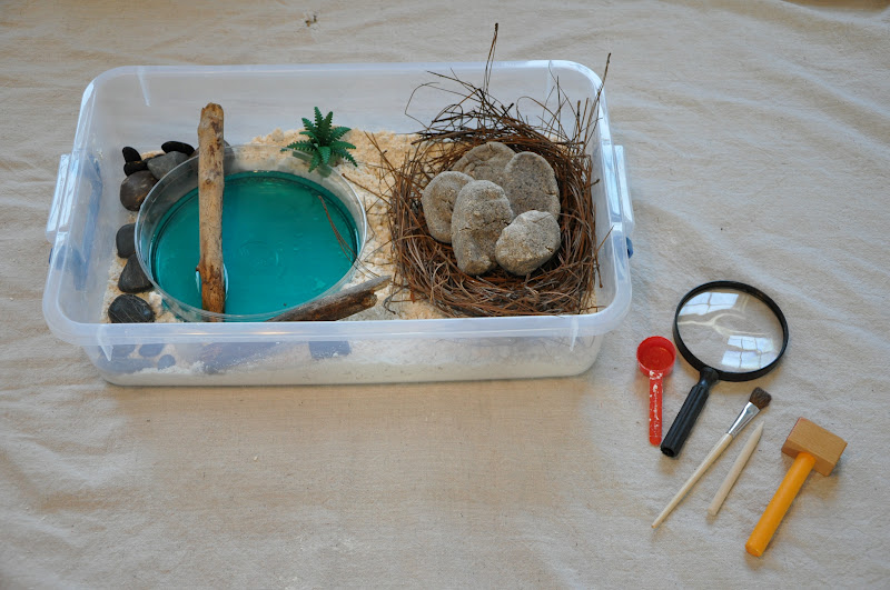 Storage Container, Cloud Dough, Rocks, Sticks, Container Of Water For A