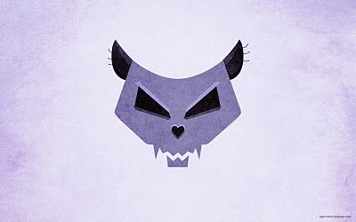 Cat skull violet grunge wallpaper