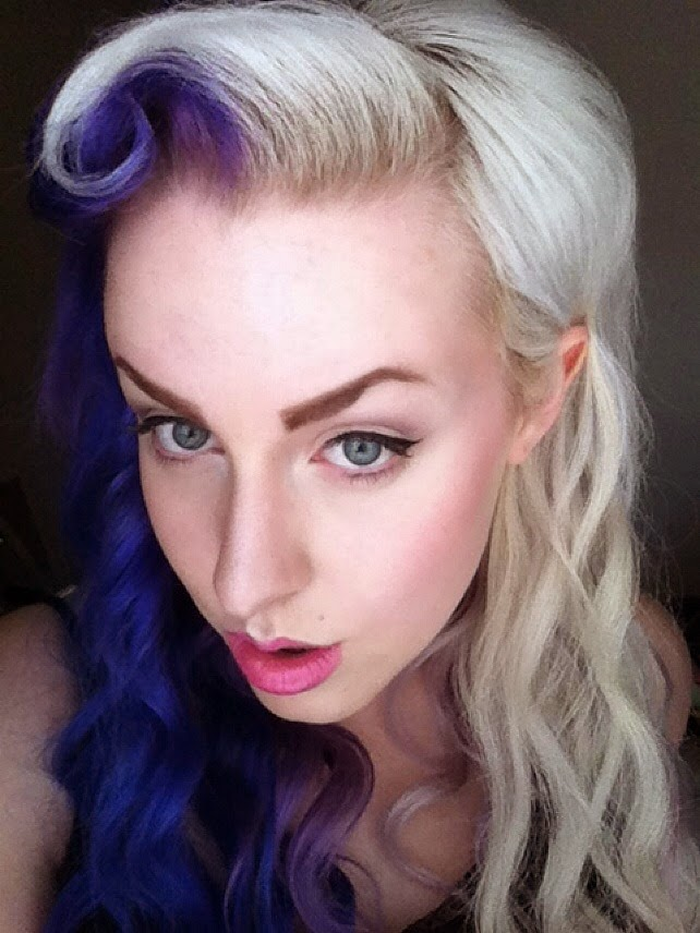 cruella devile split two tone half and half hair dye manic panic directions crazy color alternative victory roll retro hairstyle rockabilly psychobilly purple blonde