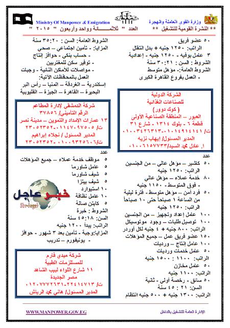 """القوى العاملة """" النشرة القومية الجديدة للتشغيل """" تعلن عن 3840 وظيفة للجميع داخل وخارج مصر"""