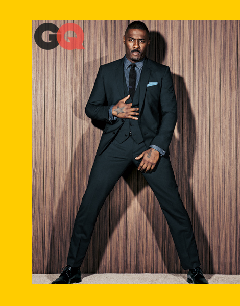 Idris Elba wearing three-piece suits in GQ