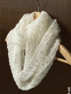 machine knitted mohair silk lacy cowl