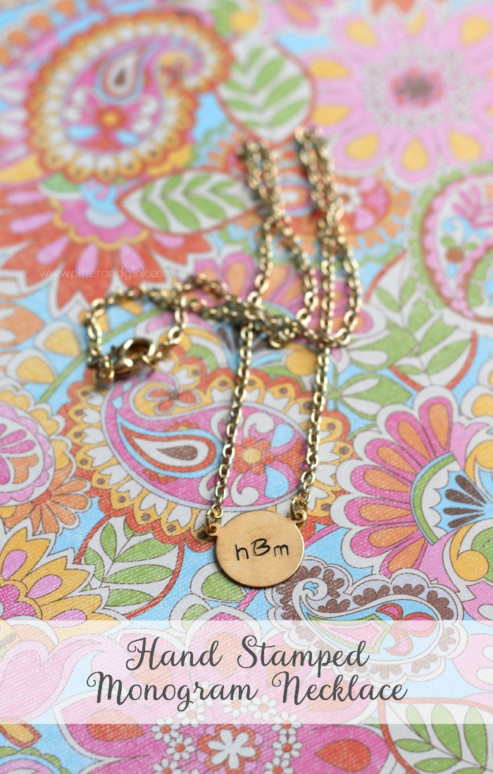 DIY Hand Stamped Monogram Necklace--A perfect handmade gift idea! pitterandglink.com