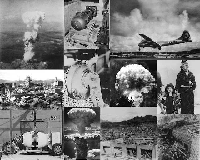 Atomic bombings of Hiroshima and Nagasaki.
