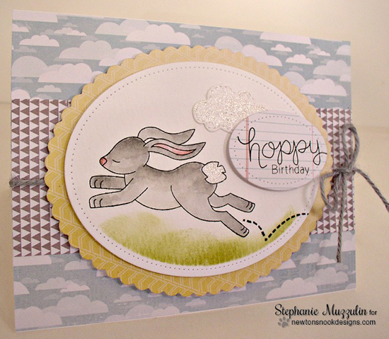 Hoppy Birthday Bunny Card by Stephanie Muzzulin | Hoppy Days Valentine Stamp Set by Newton's Nook Designs #newtonsnook