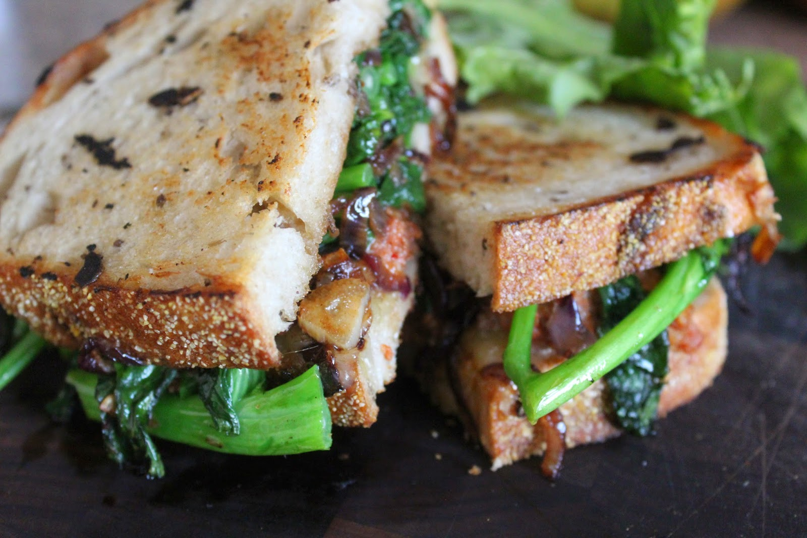 Broccoli Rabe Three Ways: Spicy Sausage and Broccoli Rabe Panini