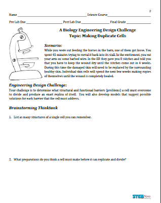 First page of the Engineering Cell Division Lab from STEMmom.org